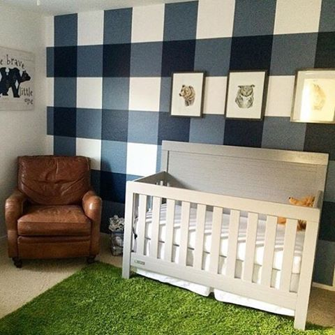 We're mad for this plaid accent wall in a baby boy nursery! via @janeykaspari