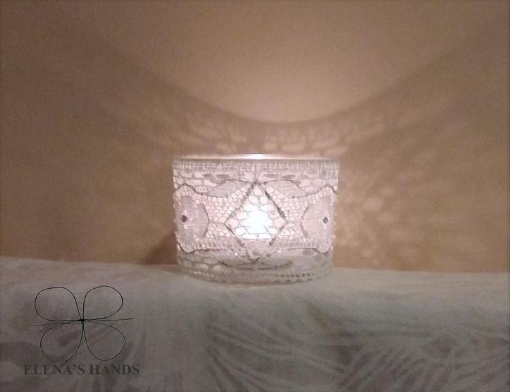 Porta candela decorato a mano #handmade