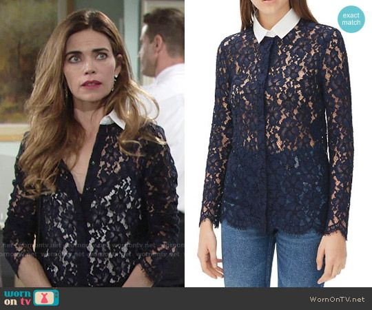 Victoria's navy lace shirt with white collar on The Young and the Restless.  Outfit Details: https://wornontv.net/58633/ #TheYoungandtheRestless