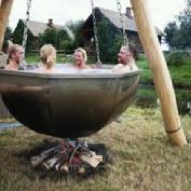 Stone age hot tub
