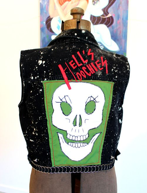 "This was one of 7 ""gang"" vests I created with artist, ALB, for our exhibition ""The League of Extraordinary Ladies"". The exhibition was part of ARTprize 2015 in Grand Rapids, Michigan."