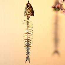 2 peças ao ar livre do Vintage ferro fundido peixe Wind Chime jardim suspenso de Metal espinha de peixe Windchimes Bell Home quintal parede Craft Free Ship(China (Mainland))