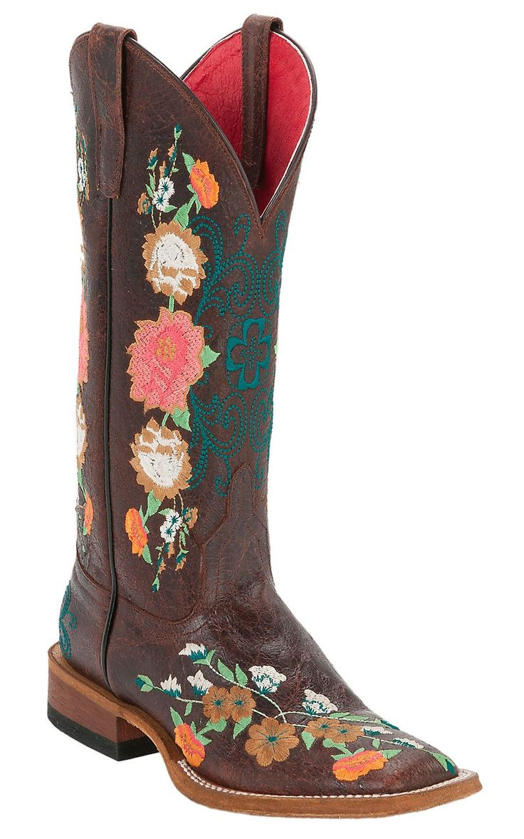 Anderson Bean® Macie Bean™ Ladies Brown Floral Embroidered Square Toe Boots | Cavender's Boot City