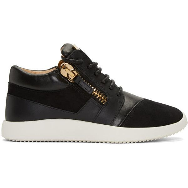 Giuseppe Zanotti Black Leather Sneakers ($355) ❤ liked on Polyvore featuring shoes, sneakers, black, black trainers, black laced shoes, black low top sneakers, black leather trainers and leather lace up sneakers