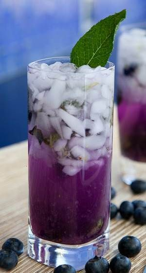 blueberry lavender mojito. >> so pretty!  Sounds good!  I love mojitos!