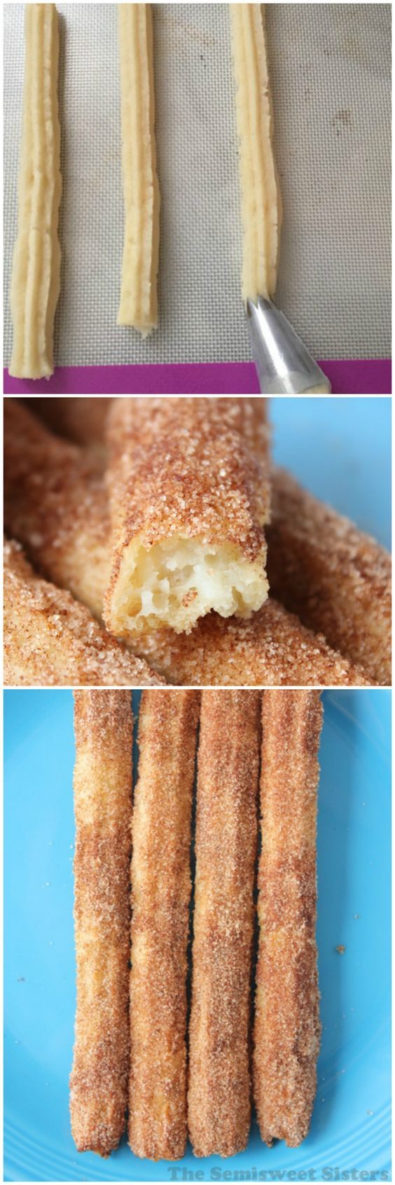 Oven Baked Churro Recipe, an easier & healthier way to make Churros. I love making/eating churros but I hate frying them, if your like me you should give this baked version a try.: