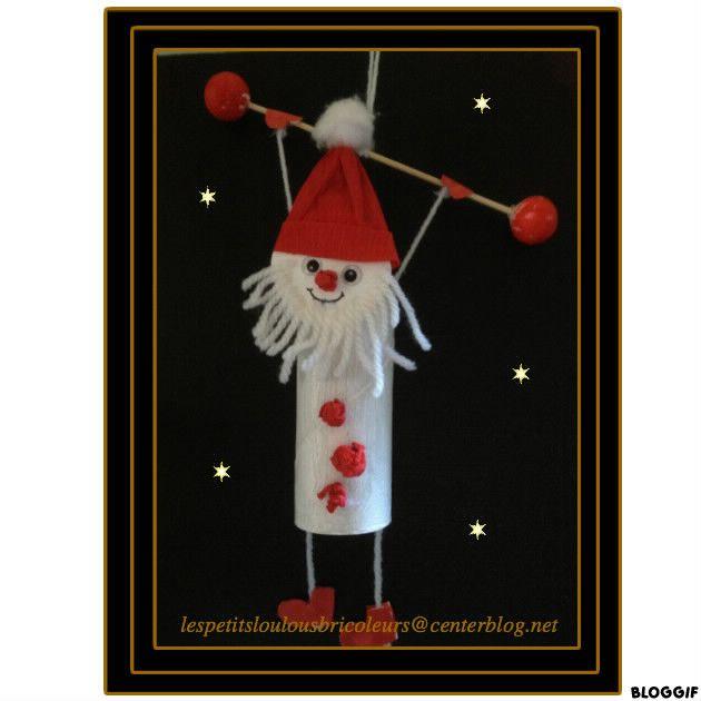 Pere noel acrobate bricolage enfant marche de noel - Pere noel avec rouleau papier toilette ...