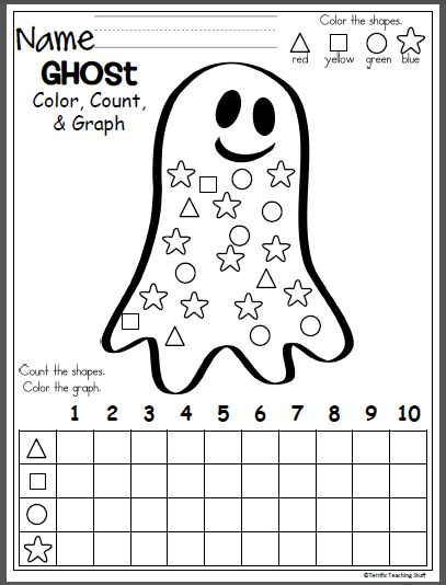 October Ghost Shapes Graph freebie for Halloween and fall. Color, count, and graph the shapes. This free page comes my October Math Packet For Kindergarten Click To View
