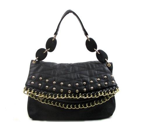 Handbag Stud And Chain Decorated Small Handbag