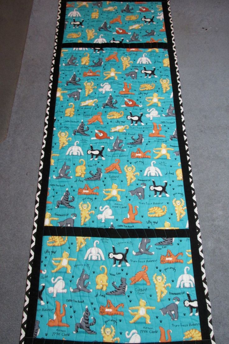 Exercise Quilted Cat Sports Mat, Yoga Mat Topper, Floor Mat, Turquoise/Teal by MadeWithLovebyEdna on Etsy