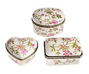 Set di 3 cofanetti in porcellana Ciclamino - max 12x9x8 cm