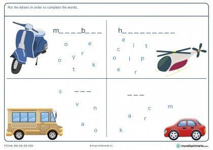 Ficha de medios de transporte en inglés para niños de 4º de primaria