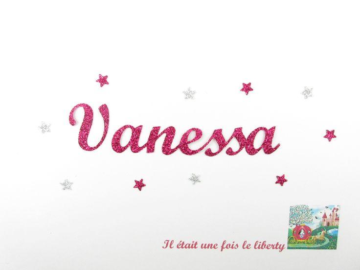 Prénom thermocollant personnalisé de 7 lettres (en taille 1, Vanessa exemple proposé) en tissu pailleté. : Ecussons, appliques par il-etait-une-fois-le-liberty