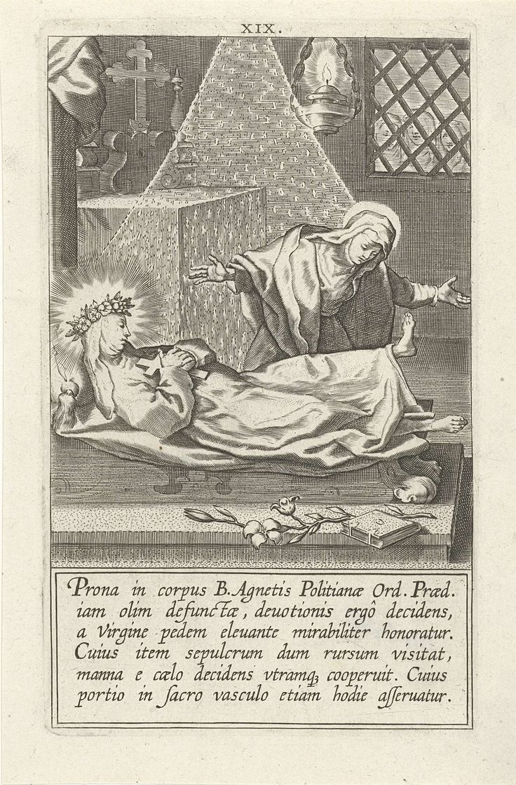 Cornelis Galle (I) | Catharina in de graftombe van de heilige Agnes, Cornelis Galle (I), Philips Galle, 1603 | Catharina bezoekt het lichaam van de heilige Agnes dat opgebaard is in een kapel. Ze buigt voorover om de voeten van Agnes te kussen en de voet komt vanzelf omhoog. Deel van een serie over Catharina van Siena bestaande uit een titelprent, een portret en 32 genummerde scènes uit haar leven.