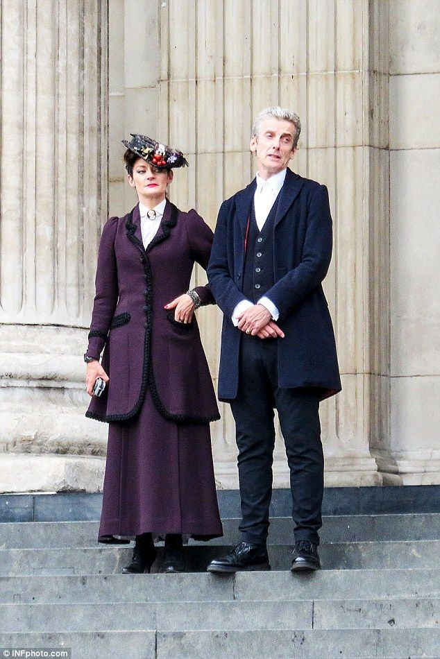 "Action! Peter Capaldi and Michelle Gomez film series eight of ""Doctor Who"" at St. Paul's Cathedral in London"