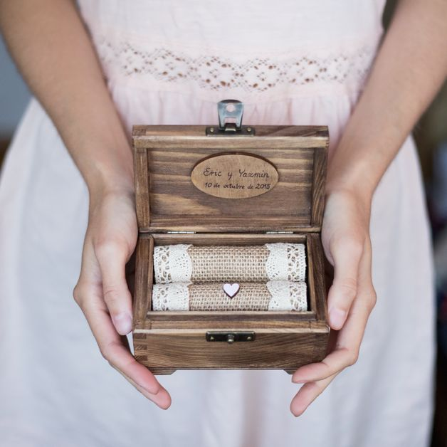 Wedding Ring Cushion – Personalized wedding ring box. Wooden ring holder. – a unique product by collectivemade via en.dawanda.com