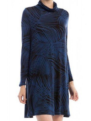 Copy of Long Sleeve TurtleNeck Dress - Navy Palm
