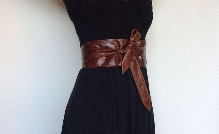 Wrap Distressed Brown Leather Obi Belt Fashion Belt Tie Wide Belts     eBay