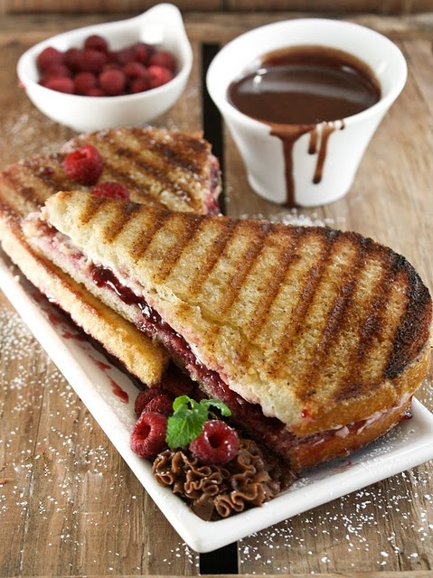 Raspberry cream cheese panini dipped in chocolate. I think I've died and gone to Heaven! So decadent!