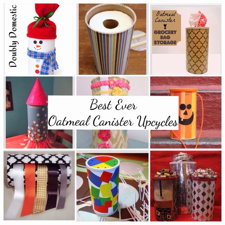Best DIY Oatmeal Canister Craft Idea Round-up. Valentine Holder, Toilet Paper Holder, Hair accessory holder, Grocery bag holder, Ribbon dispenser, Christmas Gift holder, toddler and baby straw and holes game, Halloween treat holder, and simple snowman decoration