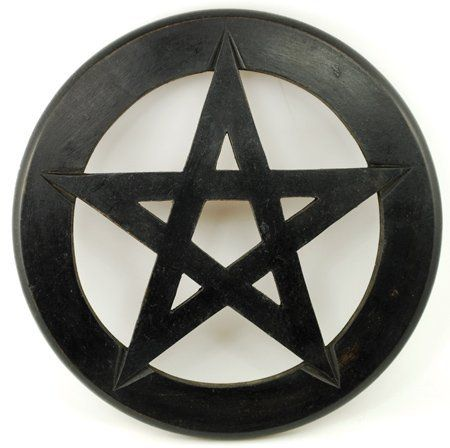 "Pentagram Wall Hanging and Altar Tile 12"" by Sage Cauldron. $15.96. Carved of solid wood, this Pentagram Wall Hanging and Altar Tile is a fantastic decoration for your sacred space. Representing the four elements (Earth, Air, Fire, and Water) ruled by spirit, or divinity, it is an ancient mystical symbol that has been used within occult practice for centuries. Simple and elegant, here it is has been stained black and is without further ornamentation. Measuring approximat..."