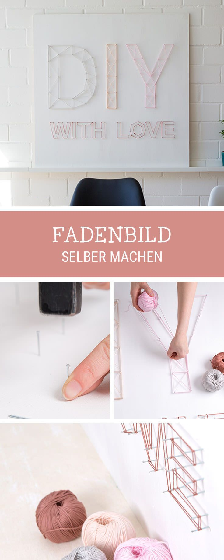 DIY-Anleitung für Zuhause, angesagtes Fadenbild selbermachen, einfaches DIY / easy diy tutorial for wall decor made of yarn, crafting with yarn via DaWanda.com