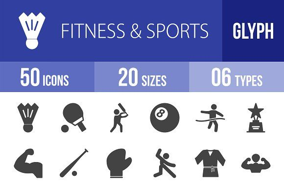 50 Fitness & Sports Glyph Icons by IconBunny on @creativemarket