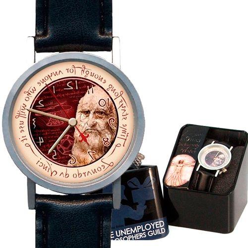 El Reloj Leonardo Da vinci es un reloj único.   ¿Por qué es único? Si te fijas bien verás que tiene las horas al revés, y anda marcha atrás, las manecillas y el segundero giran al contrario que en los demás relojes, con lo cual, la hora también se lee al revés.   ¿Cómo lo ves? Se trata de un Reloj reverse o levógiro. http://www.revolutum.com/comprar-regalo-original/relojes-originales/relojes-de-pulsera/reloj-reverse-o-marcha-atras-leonardo-1#.V5tDbLiLS00