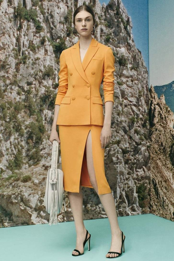 Orange double breasted blazer and skirt suit | ALTUZARRA