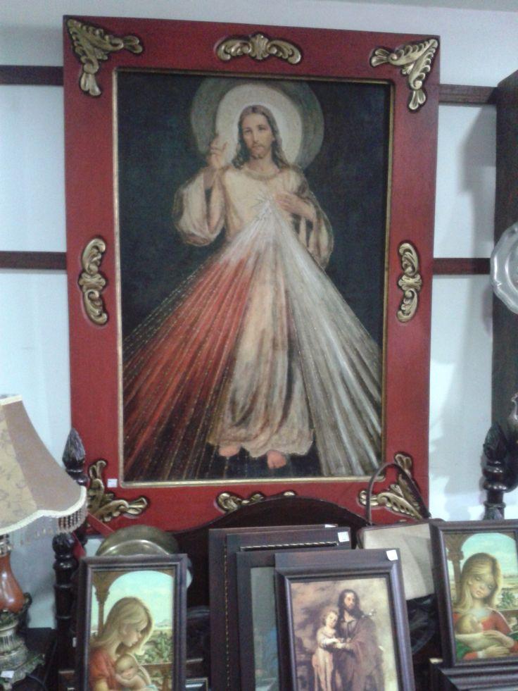 Señor de la Misericordia, lámina iluminada y marco talla en madera.
