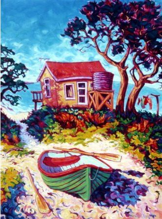 Little Beach and Boat by Rachel Olsen