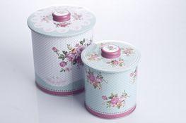 Puszka okrągła na ciastka, herbatę zestaw 2 sztuk mix wzór - Puszki – Świat AGD