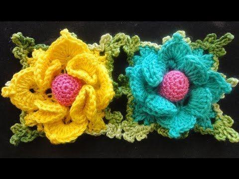 ▶ Объёмный цветок в квадрате Вязание крючком Volumetric flower squared Crocheting - YouTube