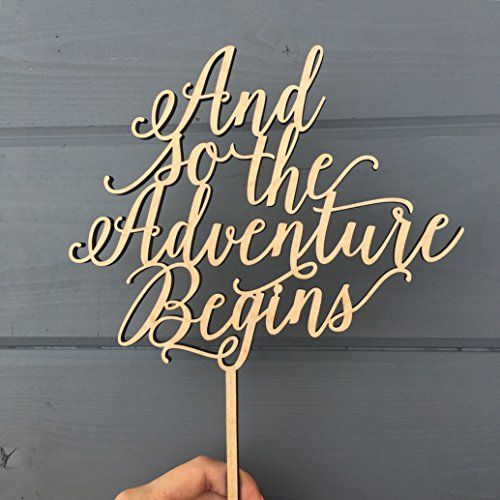 "And so the Adventure Begins Cake Topper, 8"" inches wide, Unique Wood Wedding Cake Topper by Ngo Creations"