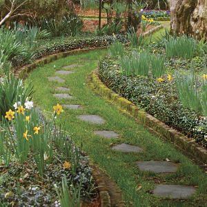 grass path with stepping stones...Gardens Ideas, Charleston Sc, Gardens Paths, Bricks Edging, Charleston Gardens, Stones Paths, Step Stones, Paths Gardens, Stepping Stones