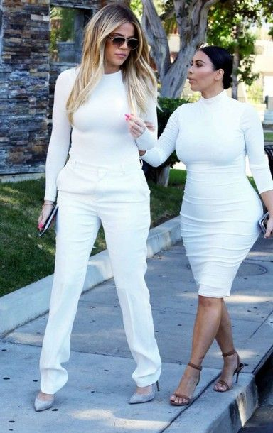 Dress: pants top all white everything kardashians kim kardashian khloe kardashian bodycon