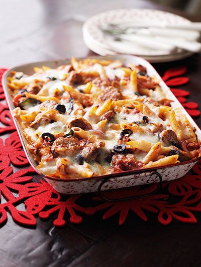 Hunger-buster pasta - A good old-fashioned dish the kids will love – they can pick the olives out! www.essentials.co.za