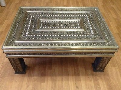 Moroccan Embossed Arabesque Silver Metal Center Coffee Table Furniture Silver Metal Products