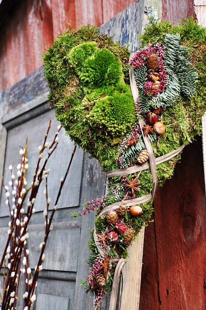 Heart wreath with moss.  Unusual and pretty!