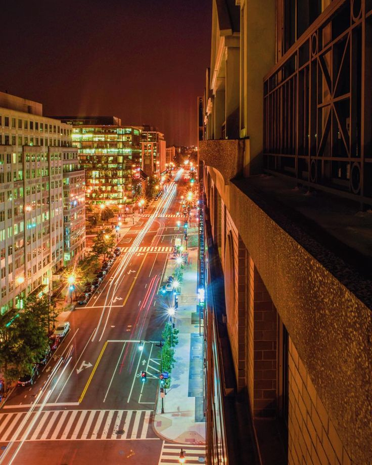 All roads lead to Grand Hyatt Washington DC. A night time shot of the compelling capital city from our hotel balcony.