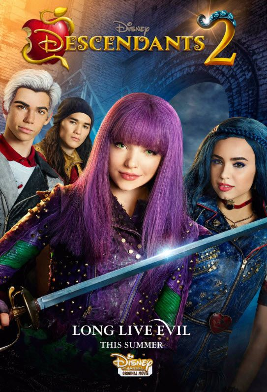 Descendants 2 airs on Disney channel 10 June starring: Dove Cameron as Mal Sofia Carson as Evie Booboo Stewart as Jay and Cameron Boyce as Carlos