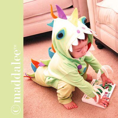 DIY Little Dinosaur Halloween Costume, Free Tutorial and Pattern