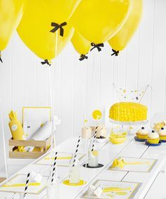 Hello Yellow Party Ideas: Cool modern yellow, black, and white kids birthday party theme.