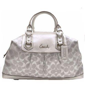 I want it.Coaches Leather, Coaches 3, Handbags Coach, Coaches Bags, Silver Leather, Coaches Satchel, Lights Silver, Coaches Ashley, Silver Coaches