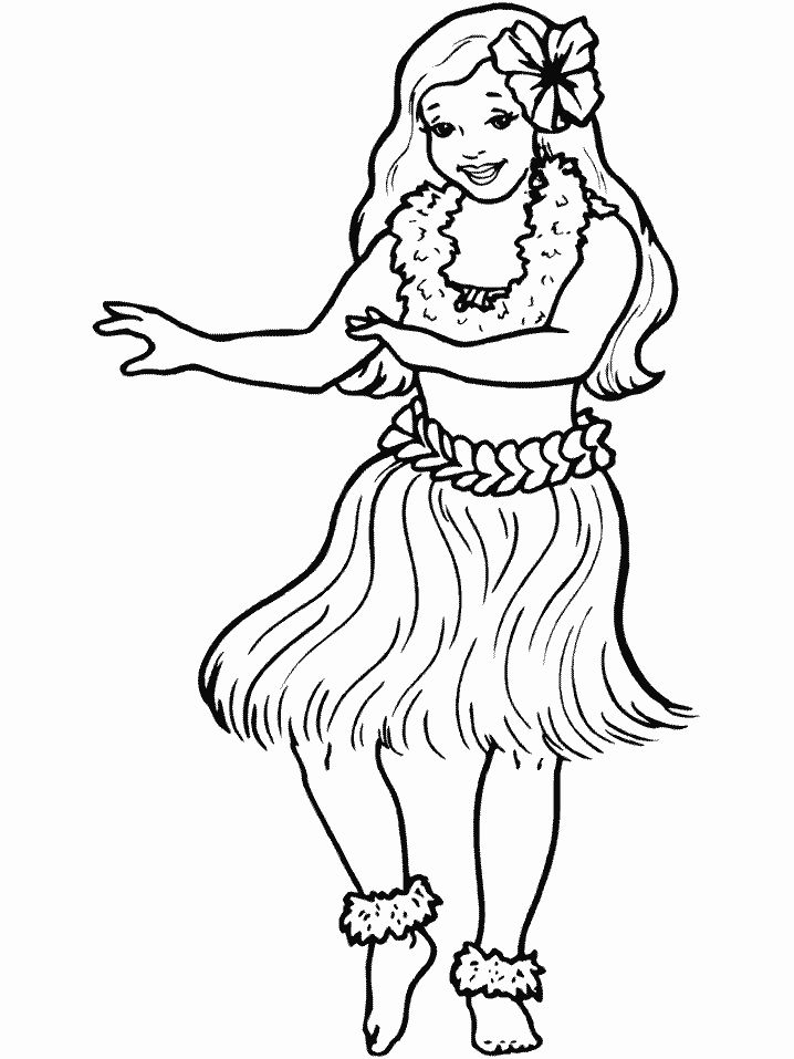 Print coloring page and book Hula