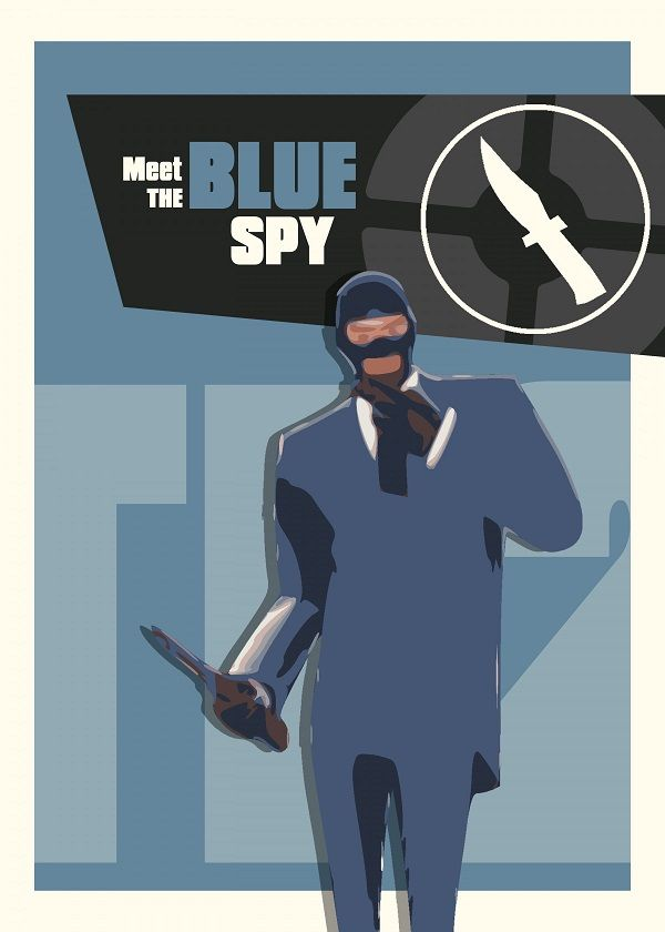 Team Fortress 2 Characters Meet The Blue Spy Displate Artwork By