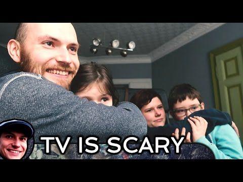 Scared children watching