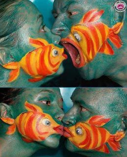 fish faces: Idea, Faces, Fish, Body Painting, Funny, Body Art, Bodypaint, Photo, Face Painting