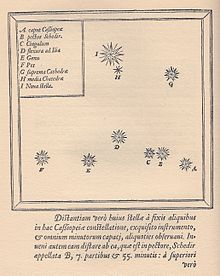 star map of Cassiopeia constellation - Tycho Brahe -