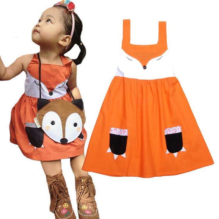Little Girls kids clothes dress 2016 Fox Splice kids Little Girl clothes dress Sling kids clothes Princess dress for little girl